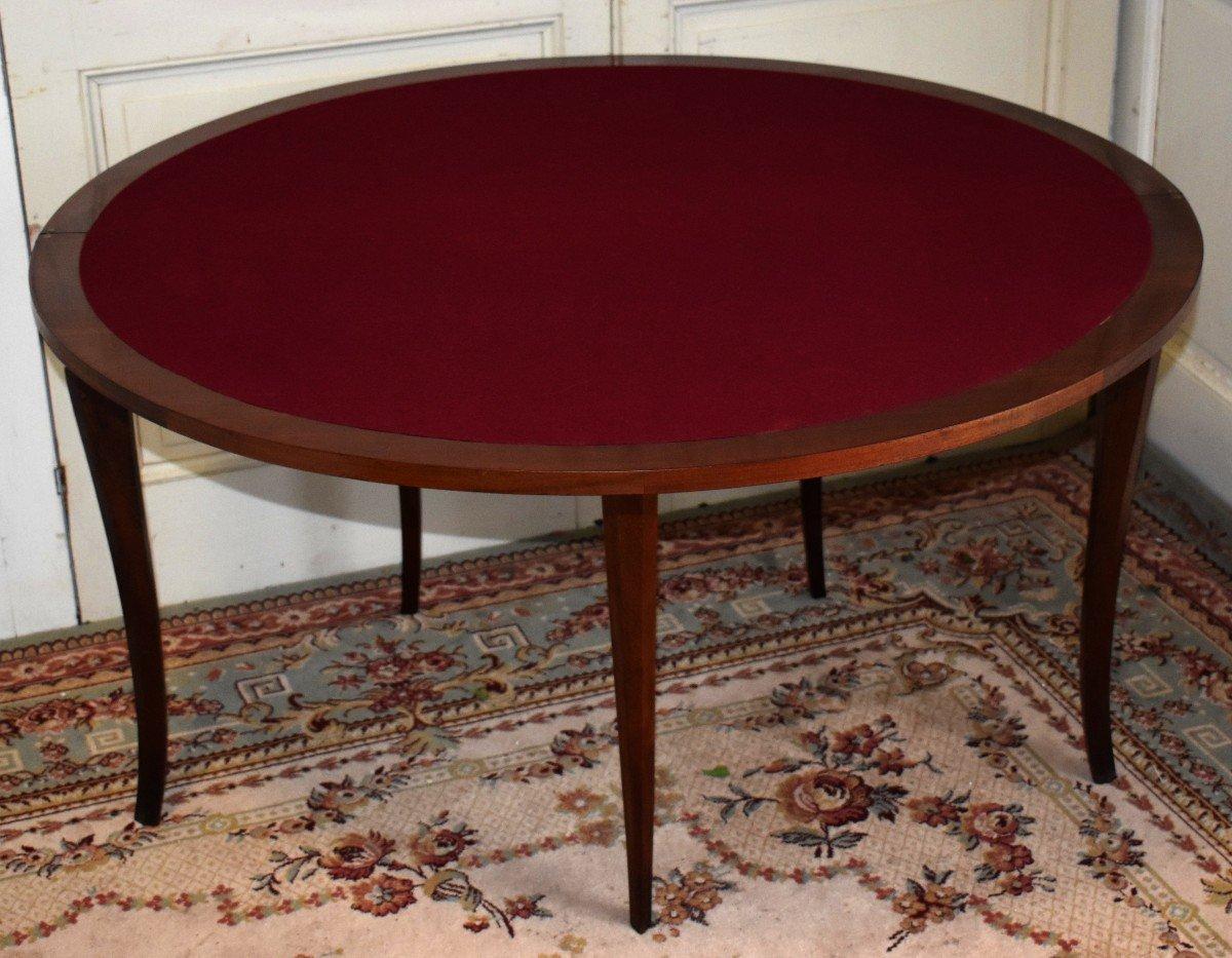 Table à Jeux Demi Lune De Style Louis XV  Formant Console.-photo-5