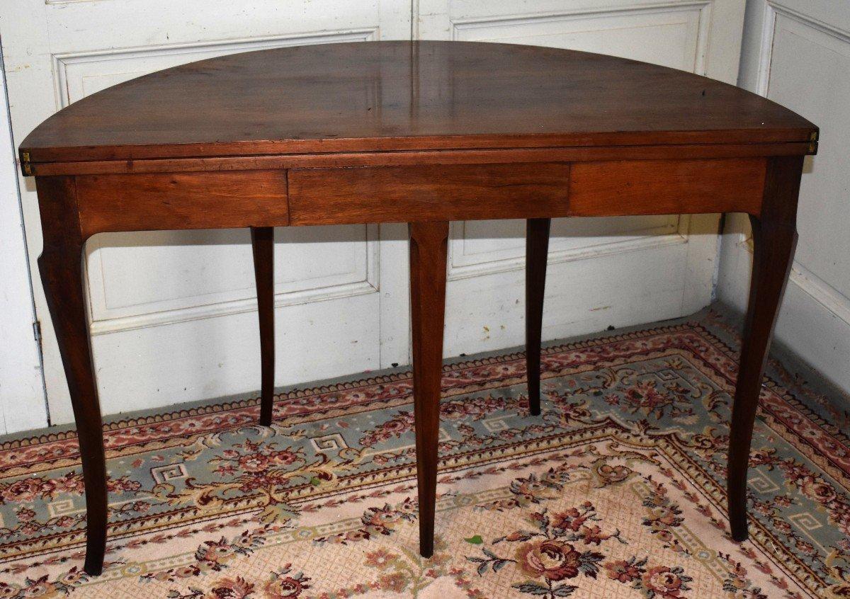 Table à Jeux Demi Lune De Style Louis XV  Formant Console.-photo-7