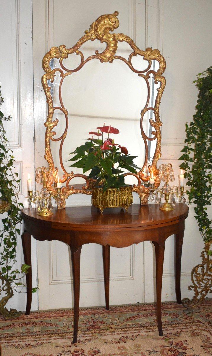Table à Jeux Demi Lune De Style Louis XV  Formant Console.