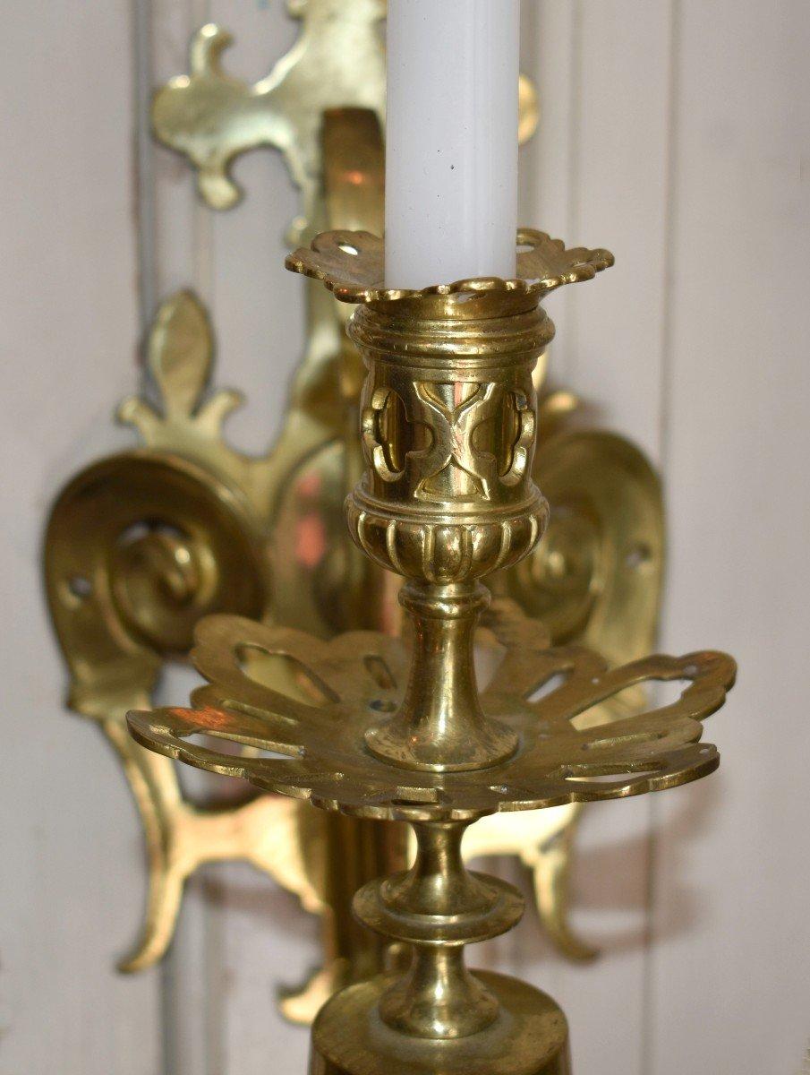 Grande Paire d'Appliques à Cinq Bras De Lumière en Bronze Doré, éclairage Bougie, style Néo - Renaissance.-photo-4