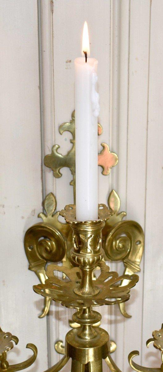 Grande Paire d'Appliques à Cinq Bras De Lumière en Bronze Doré, éclairage Bougie, style Néo - Renaissance.-photo-5