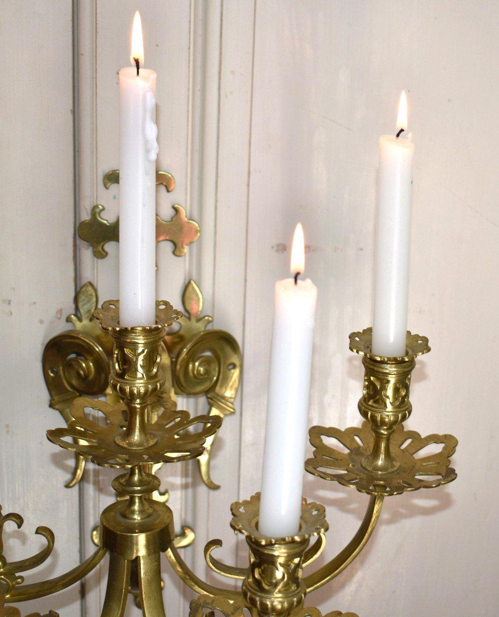 Grande Paire d'Appliques à Cinq Bras De Lumière en Bronze Doré, éclairage Bougie, style Néo - Renaissance.-photo-6