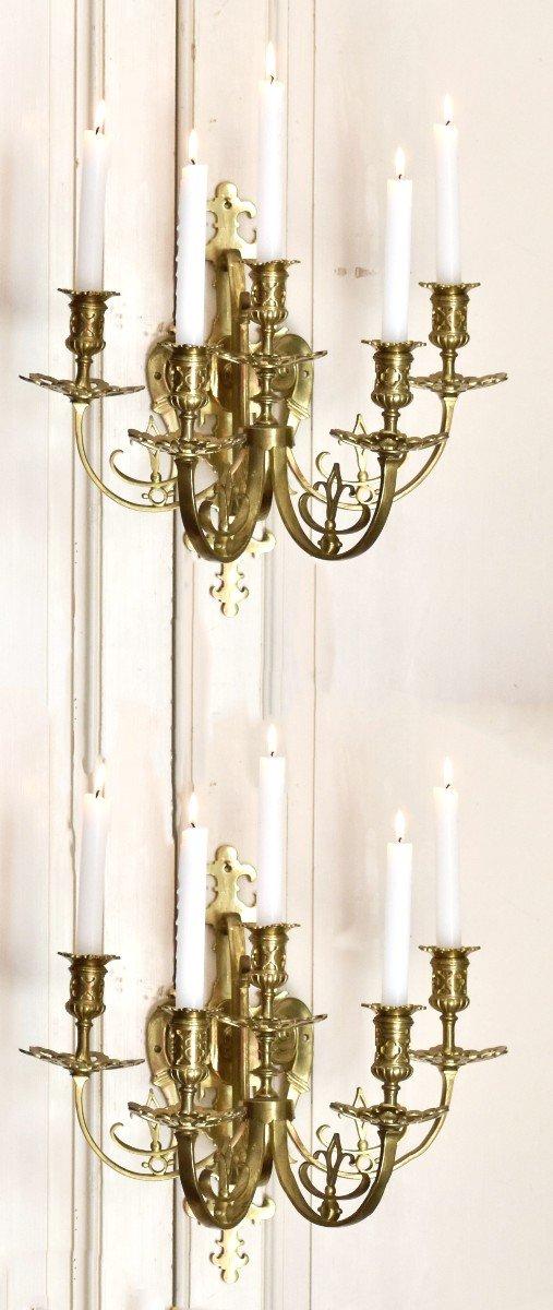 Grande Paire d'Appliques à Cinq Bras De Lumière en Bronze Doré, éclairage Bougie, style Néo - Renaissance.-photo-7