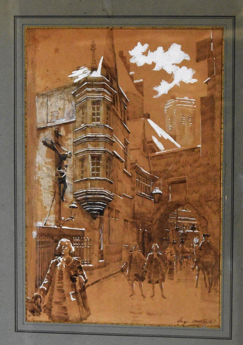 Eugène Morand ( 1855-1930 ). Dessin  à l'encre et gouache,  Ruelle Animée Personnages En Costume d'époque XVIII e. Scène De Rue.-photo-2