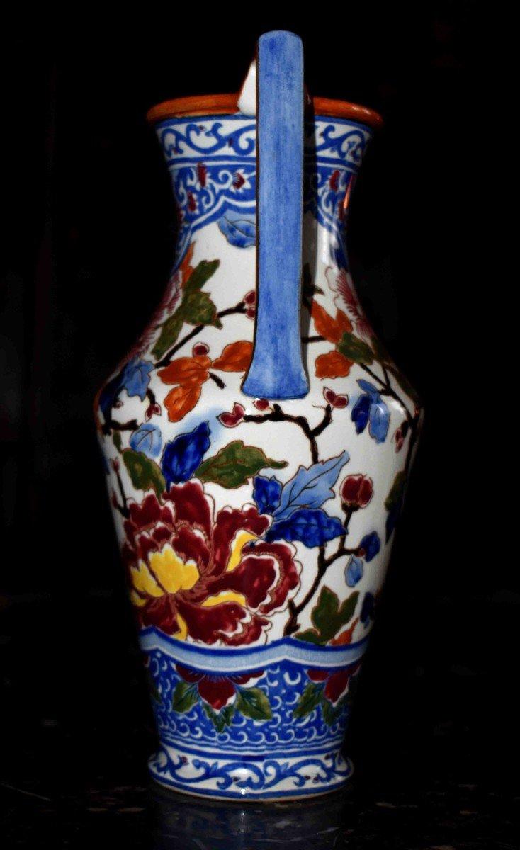 Vase En Faïence De Gien de  Forme Amphore à deux anses , Modèle Pivoine.-photo-3