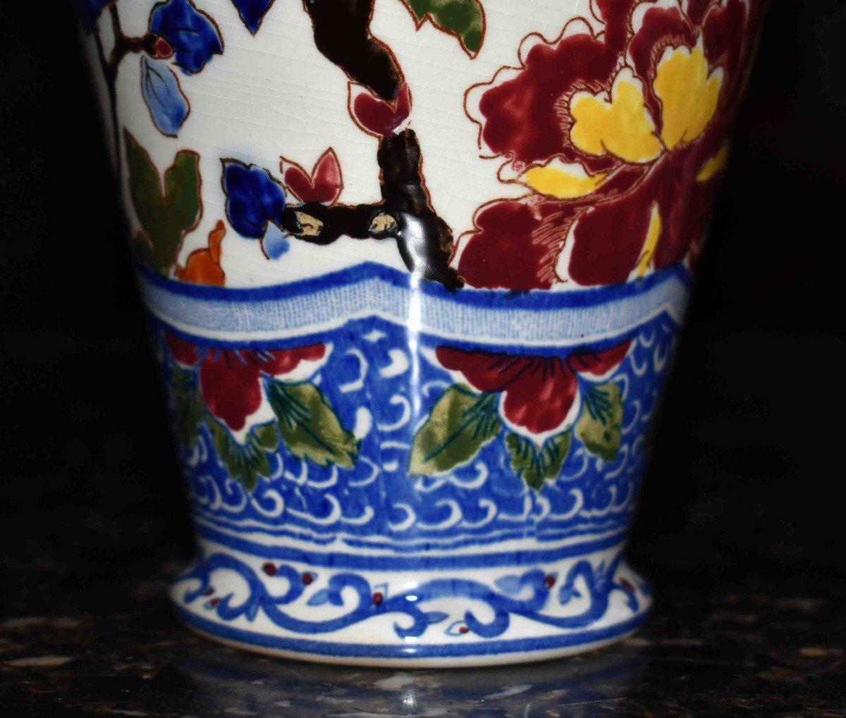 Vase En Faïence De Gien de  Forme Amphore à deux anses , Modèle Pivoine.-photo-1