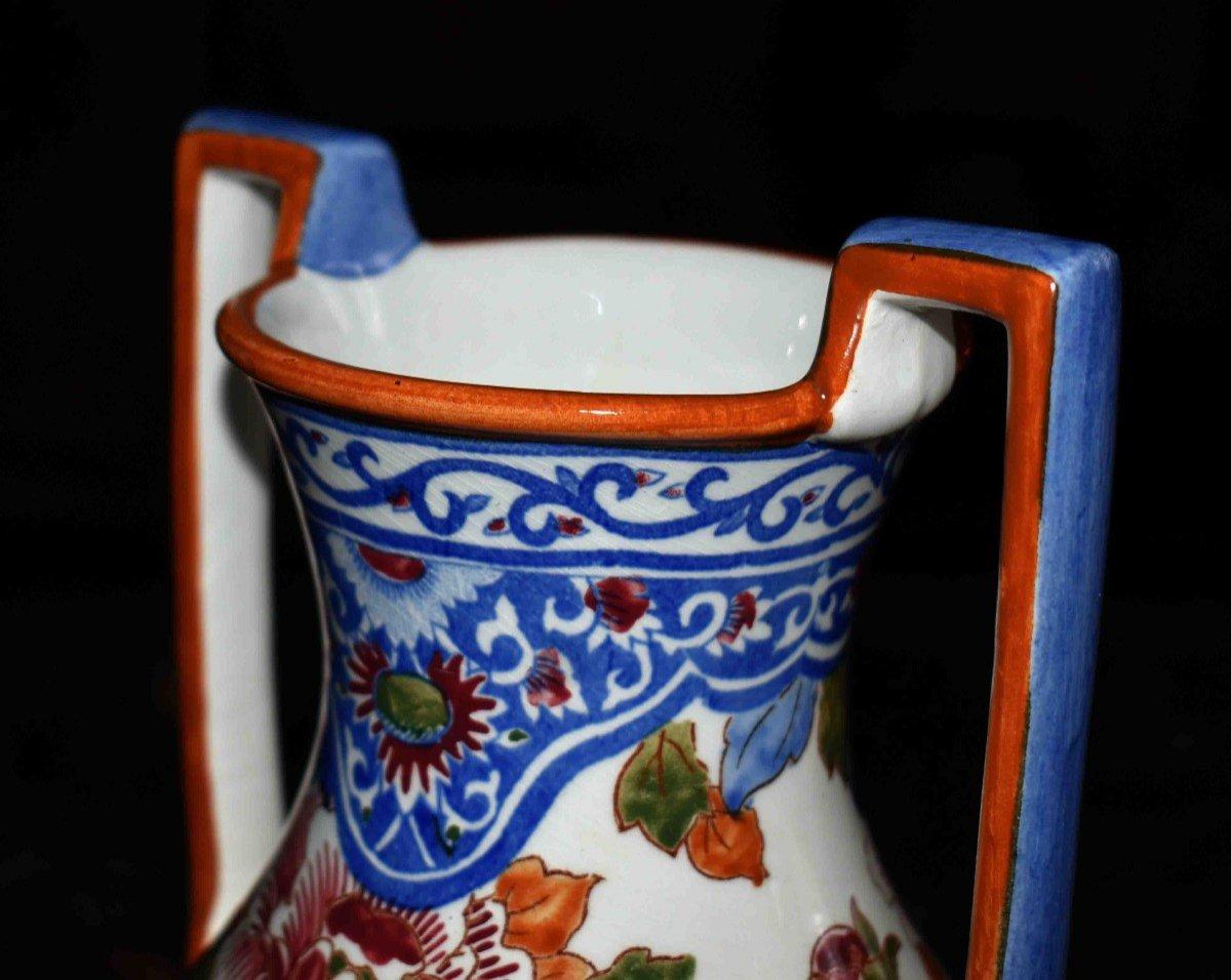 Vase En Faïence De Gien de  Forme Amphore à deux anses , Modèle Pivoine.-photo-4