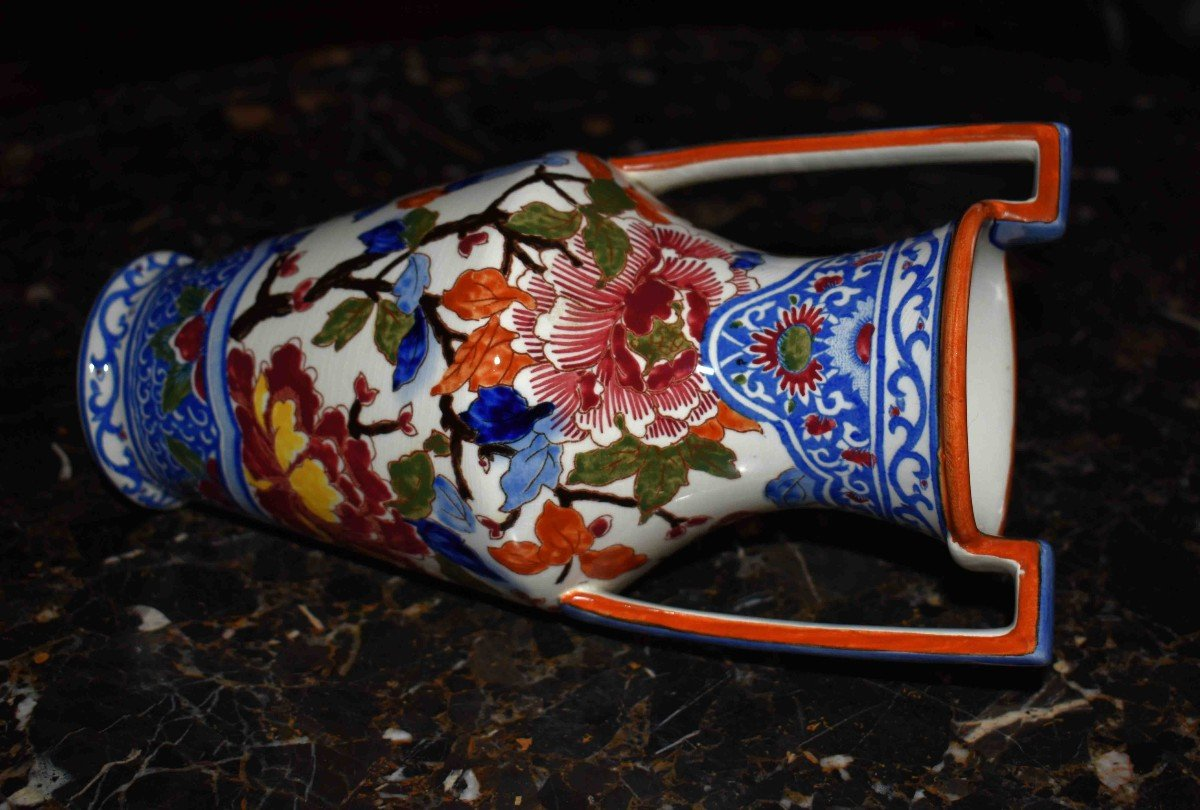 Vase En Faïence De Gien de  Forme Amphore à deux anses , Modèle Pivoine.-photo-5