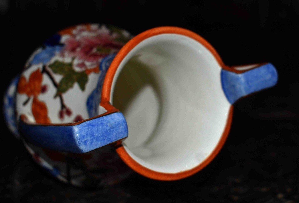 Vase En Faïence De Gien de  Forme Amphore à deux anses , Modèle Pivoine.-photo-6