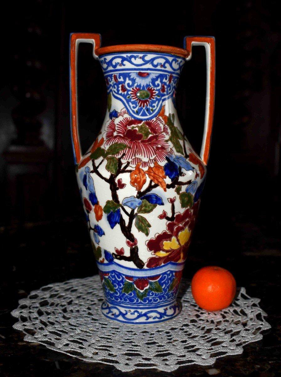 Vase En Faïence De Gien de  Forme Amphore à deux anses , Modèle Pivoine.-photo-8