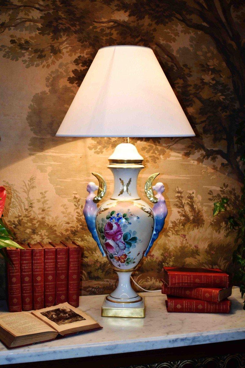 Grande Lampe En Porcelaine De Limoges, Décor Floral Peint Main-photo-2