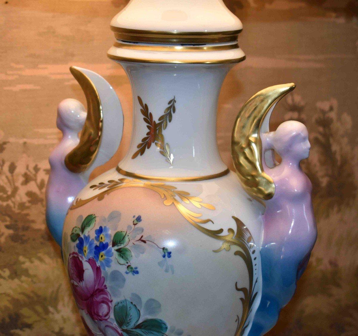 Grande Lampe En Porcelaine De Limoges, Décor Floral Peint Main-photo-3