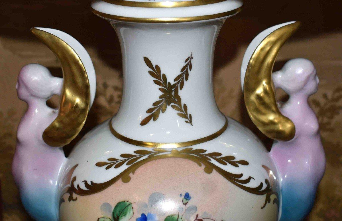 Grande Lampe En Porcelaine De Limoges, Décor Floral Peint Main-photo-4