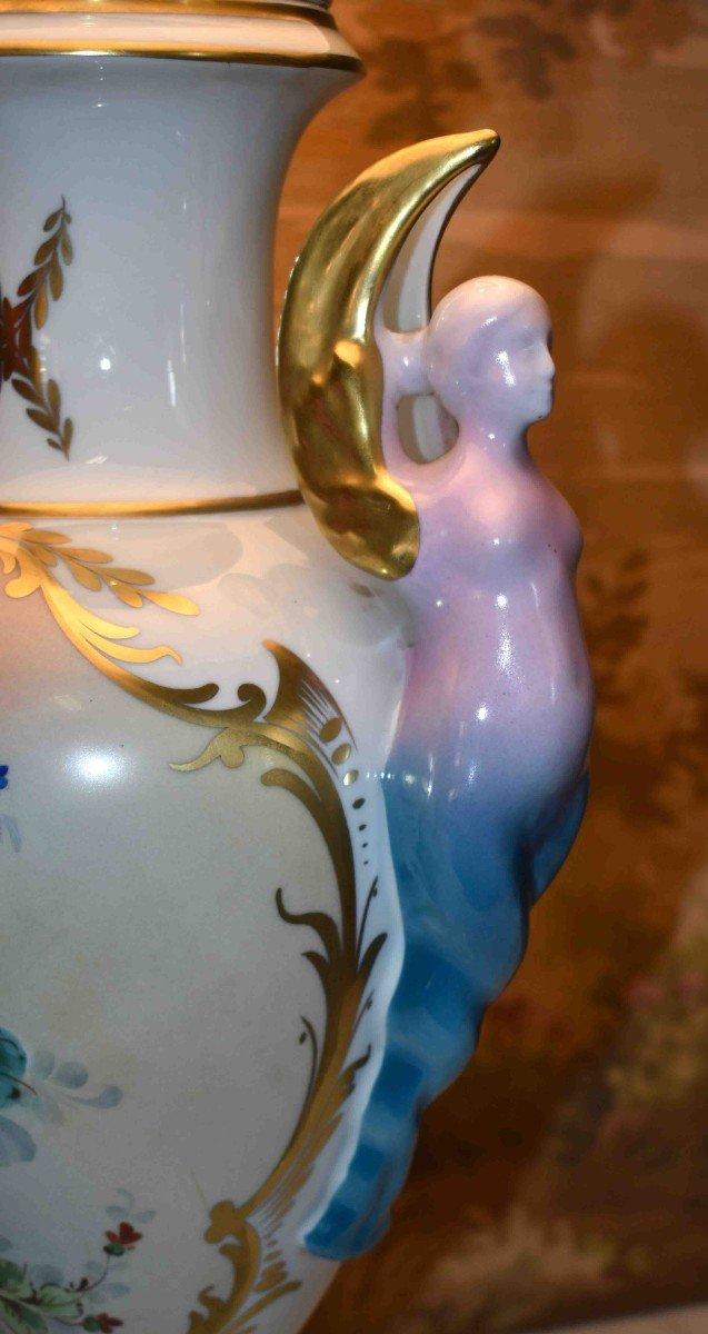 Grande Lampe En Porcelaine De Limoges, Décor Floral Peint Main-photo-6