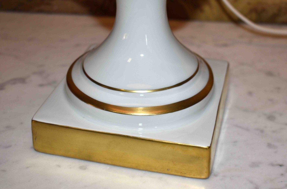 Grande Lampe En Porcelaine De Limoges, Décor Floral Peint Main-photo-8