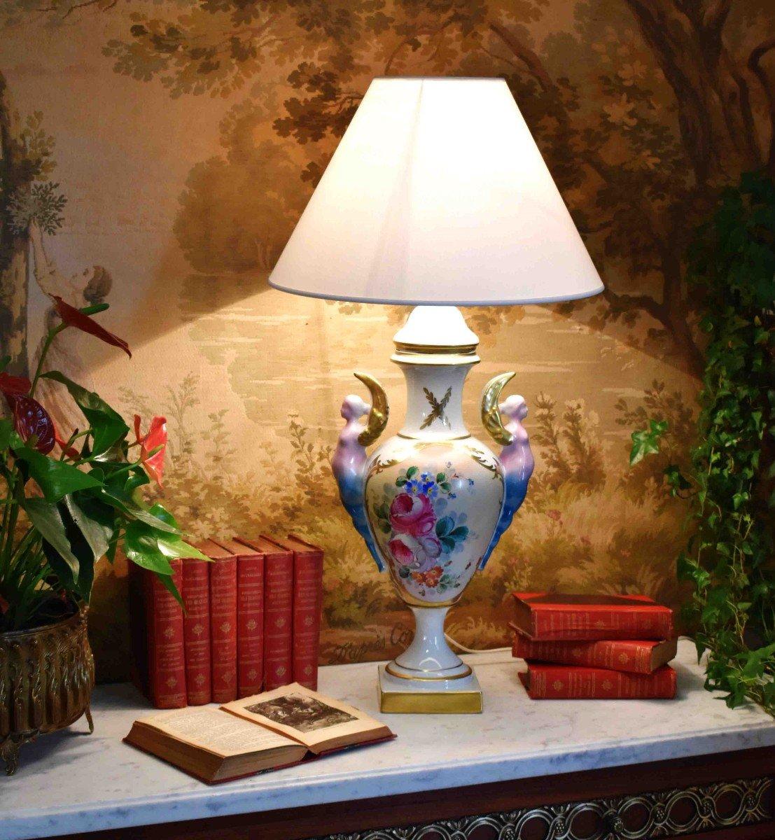 Grande Lampe En Porcelaine De Limoges, Décor Floral Peint Main