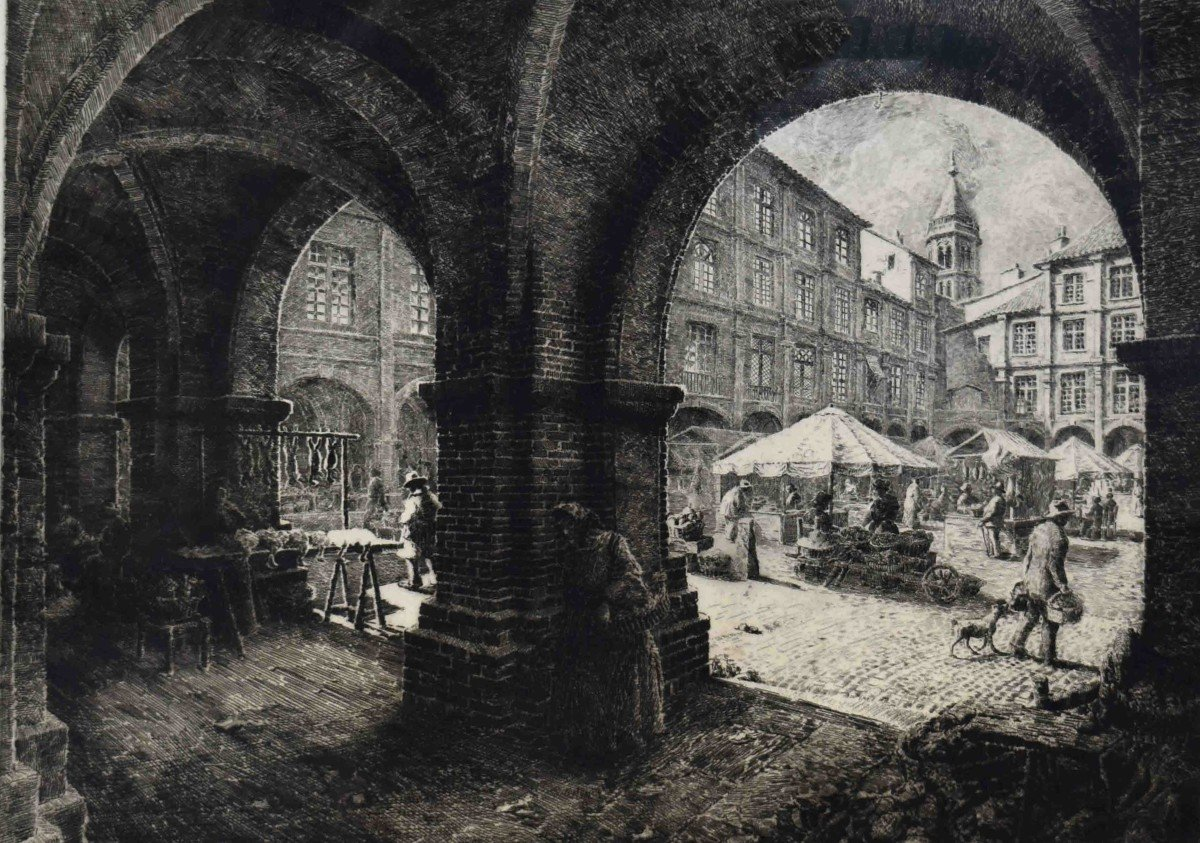 Renaud De Vézins De Lévézou ( 1882 - 1832 )  Grande Eau Forte De La Place Nationale De Montauban ( ancienne place Royale ).-photo-2
