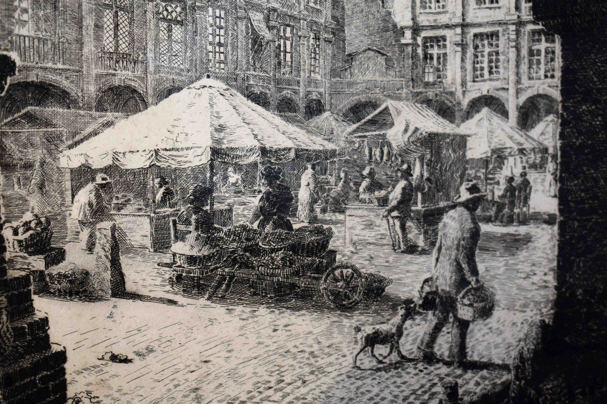 Renaud De Vézins De Lévézou ( 1882 - 1832 )  Grande Eau Forte De La Place Nationale De Montauban ( ancienne place Royale ).-photo-4