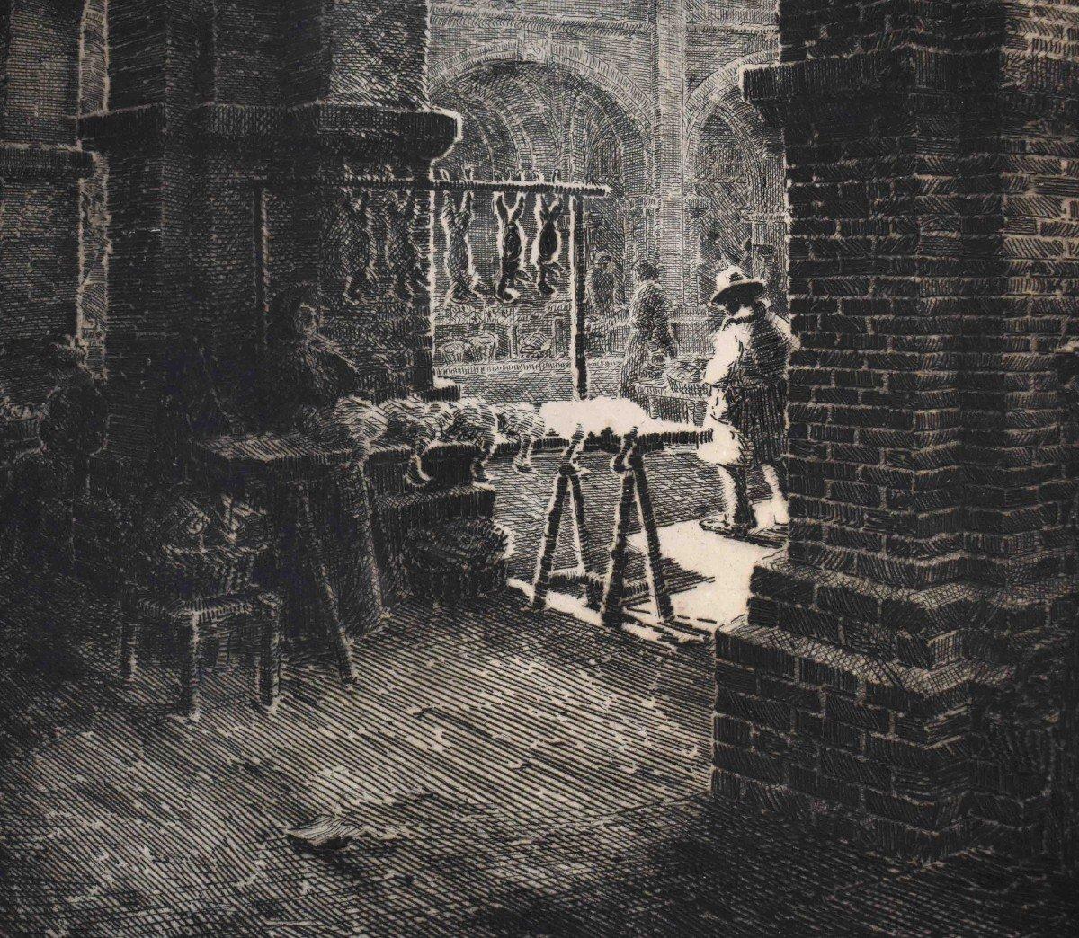 Renaud De Vézins De Lévézou ( 1882 - 1832 )  Grande Eau Forte De La Place Nationale De Montauban ( ancienne place Royale ).-photo-3