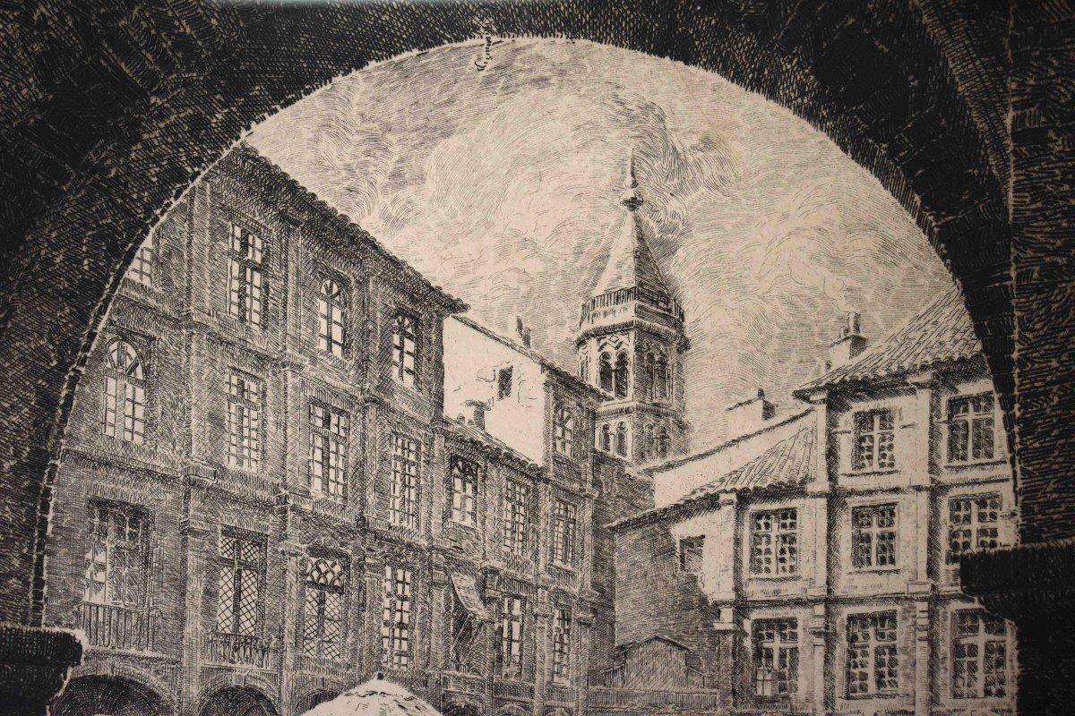 Renaud De Vézins De Lévézou ( 1882 - 1832 )  Grande Eau Forte De La Place Nationale De Montauban ( ancienne place Royale ).-photo-5