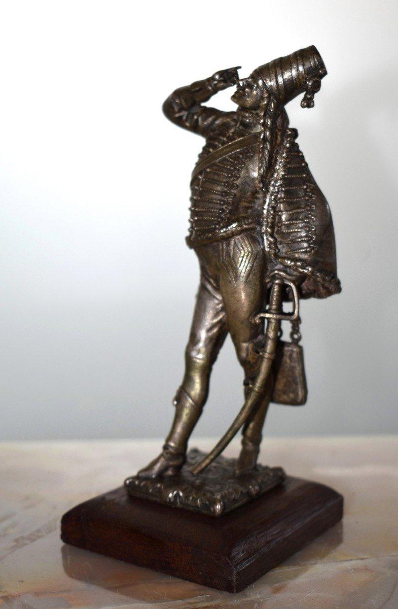 Paire De Statuettes , Sujet Militaire, Hussard  et  Jeune Fille,  Soldat en costume militaire, Premier Empire, Napoléon.-photo-1