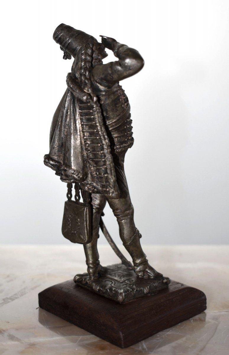 Paire De Statuettes , Sujet Militaire, Hussard  et  Jeune Fille,  Soldat en costume militaire, Premier Empire, Napoléon.-photo-3
