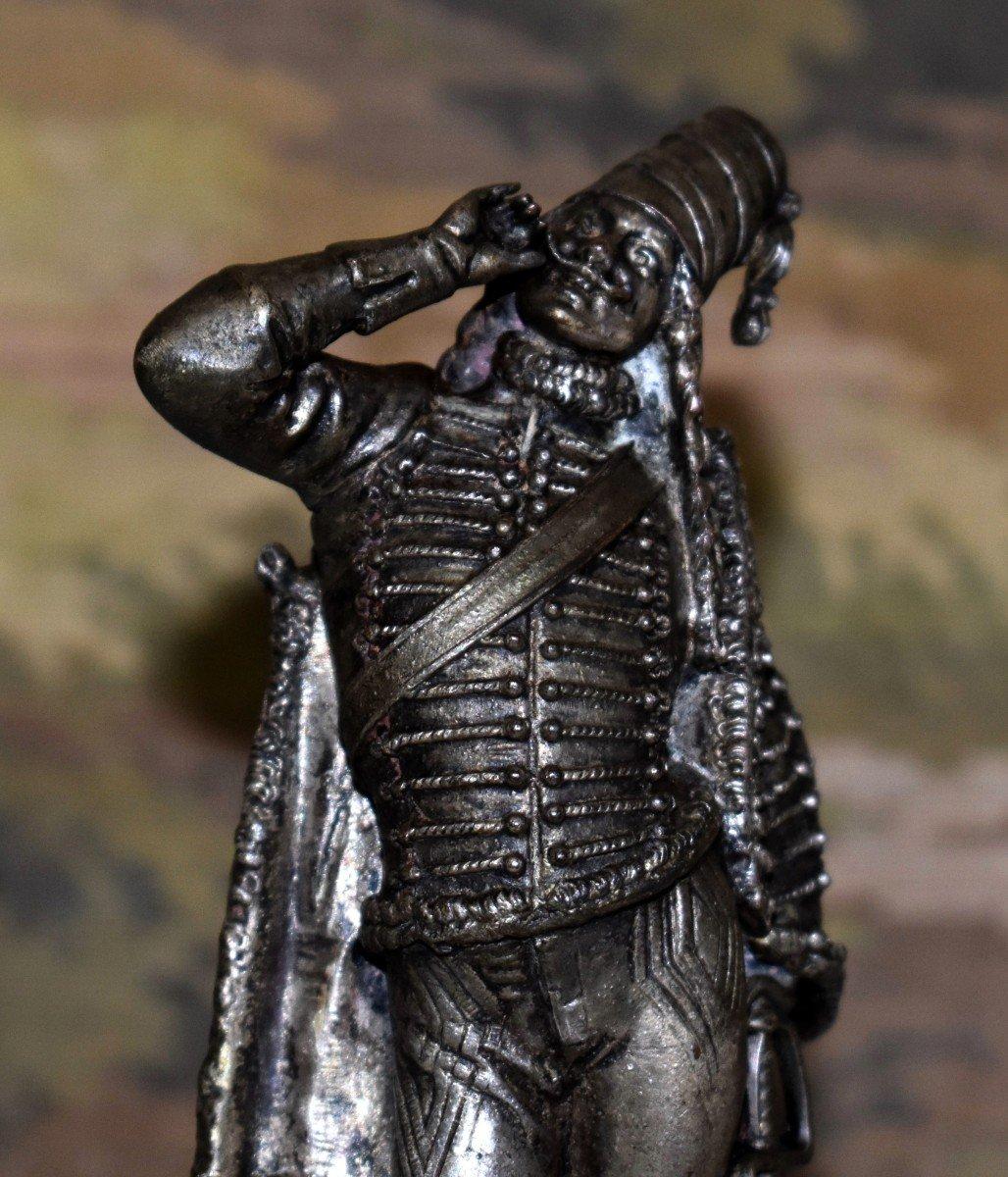 Paire De Statuettes , Sujet Militaire, Hussard  et  Jeune Fille,  Soldat en costume militaire, Premier Empire, Napoléon.-photo-4