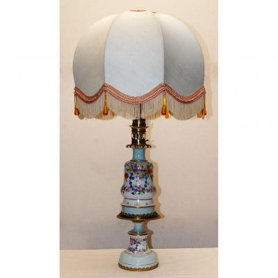 Grande Lampe Et Support Porcelaine, Bronze Doré, Napoleon III, XIXème.