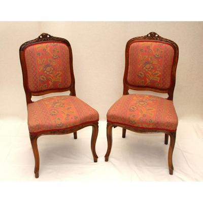 Pair Of Chairs XIXth, Style Louis XV.
