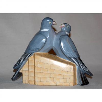 Couple De Pigeon En Porcelaine De Limoges