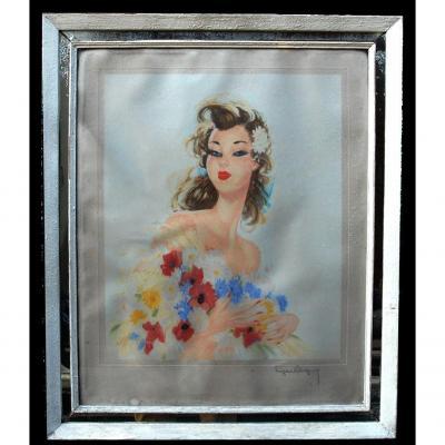 Grande Lithographie encadrée, Galante d' Eugène Leliepvre, Portrait Jeune Femme Au Bouquet.  cadre à parecloses.
