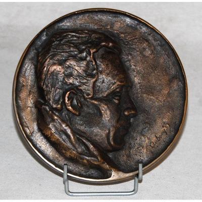 Plaque En Bronze, Médaillon, Portrait.