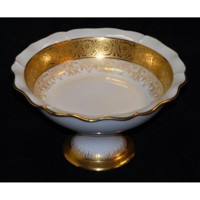 Limoges Porcelain Cup, Double Incrustation Gold, Malevergne Workshops.