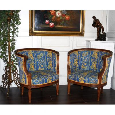 Pair Of Armchairs Baskets Louis XVI Style.
