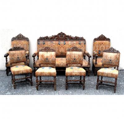 Salon Complet: Canapé, 2 Fauteuils, 4 Chaises à Torsades, De Style Louis XIII.