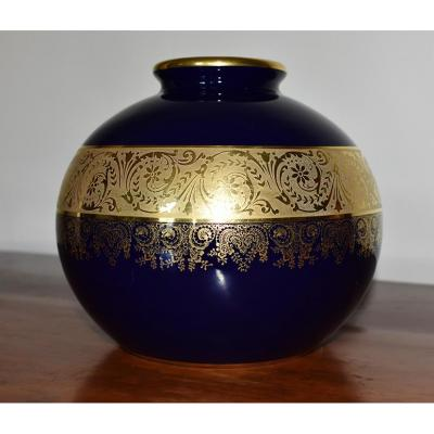 Ball Vase Limoges Porcelain, Oven Blue And Gold Inlay.