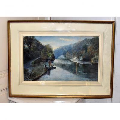 W.Lewis.Turner, 1901, Aquarelle Paysage de Rivière
