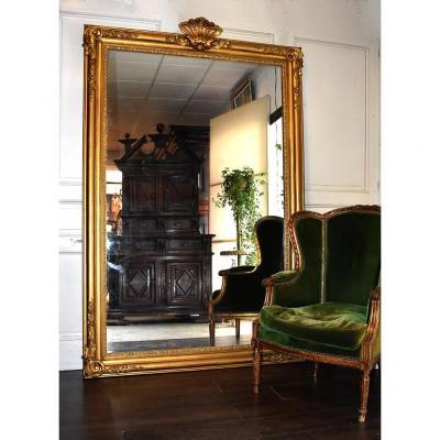 Grand Miroir En Bois Et Stuc Doré, XIXème.