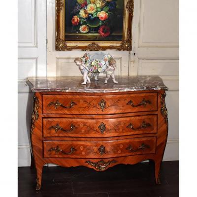 Commode Louis XV En Marqueterie Et Bois De Rose
