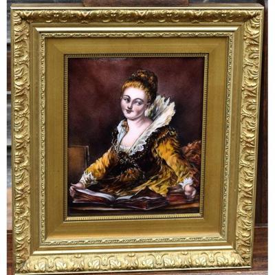 Portrait Sur Plaque En Email Signée J.grangé. Emaux De Limoges;
