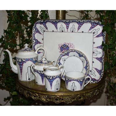 """F.Legrand  ( 1923-1944 ) service à café  dit  """" Egoïste """"  Art Déco  En Porcelaine De Limoges"""