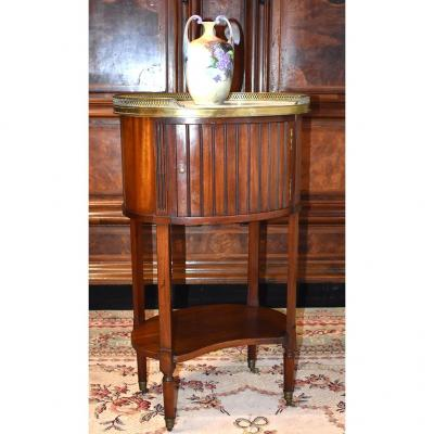 Small Salon Side Table, Drum Shape, Mahogany Bedside.