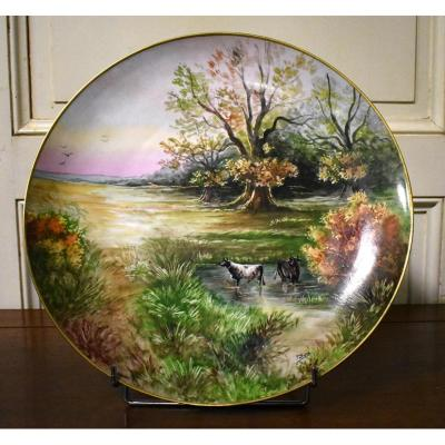 P. Pastaud. Large Decorative Dish Porcelain Hand Painted Limoges, Scenery Landscape And Cows.