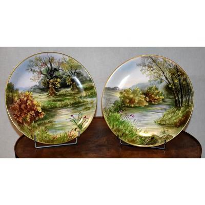 P. Pastaud. Pair Of Great Plates Porcelain Limoges, Entirely Hand Painted.