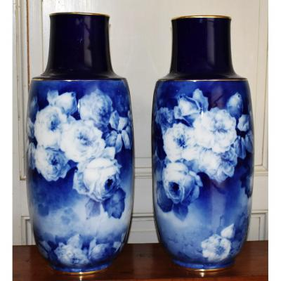 Pair Of Large Vases Limoges Porcelain, Camaïeu Of Blue On Oven Blue.