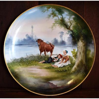 Large Decorative Dish Limoges Porcelain Hand Painted.