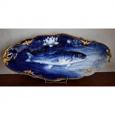 P.pastaud. Large Decorative Limoges Porcelain Dish, Hand Painted Decor In Blue Camaïeu.