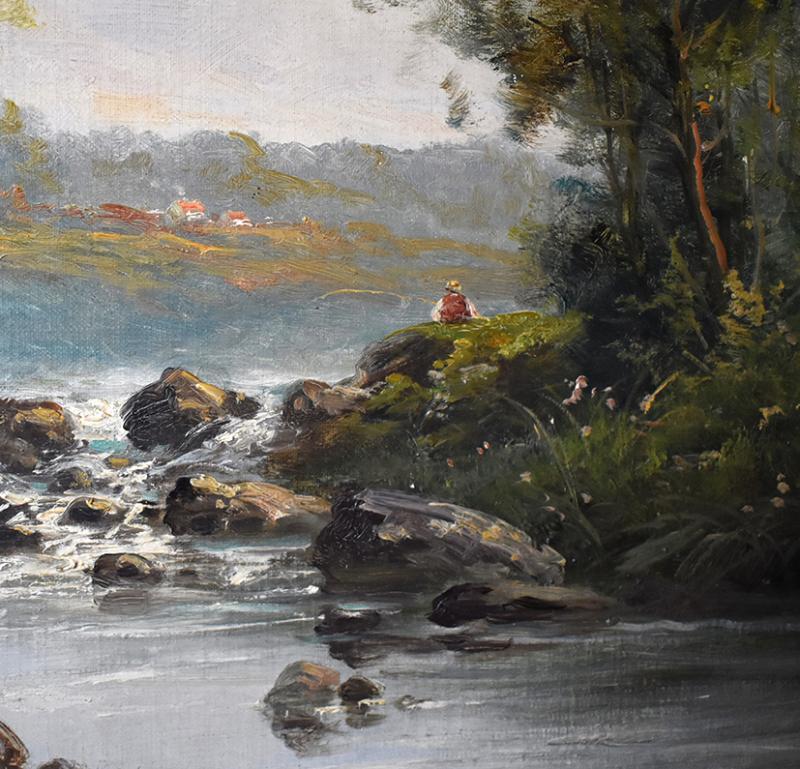 C. Lion ( XIXe ). Tableau Paysage Bord De Rivière. Huile Sur Toile Encadrée.-photo-4
