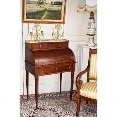 Bureau Cylindre De Dame En Acajou De  Style Louis XVI.