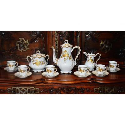 Limoges Porcelain Coffee Set, Handpainted Decor With Gold Paste. Late Nineteenth.